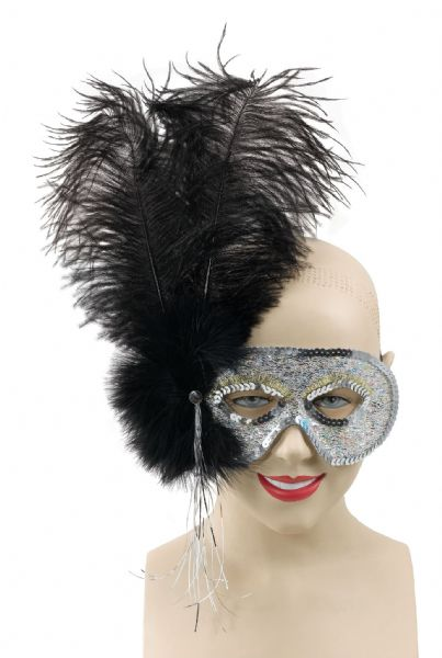 Silver with Black Feather Mask
